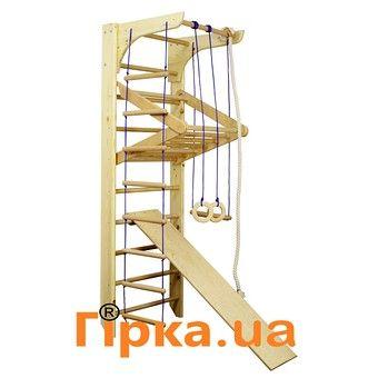 Материал: Боковые стойки - сосна Перекладины - бук  Состоит: * Канат. * Веревочная лестница. * Кольца гимнастические. * Гимнастическая трапе...