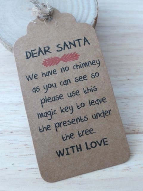A tag for Santa's magical key! Make sure Santa gets through your door, and pop the key inside your Christmas Eve box. Just get our plain card or wooden tags and ribbon. More DIY inspiration available at www.craftmill.co.uk
