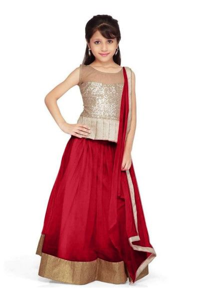 New arrival designer Red net kids partywear lehenga choli(28 inches) - Semi Stitched