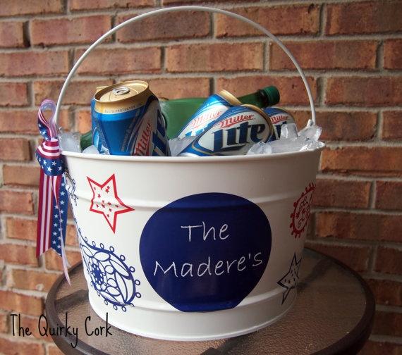 Patriotic Ice Bucket: Personalized 16, Custom Patriots, Quart Patriots, Ice Buckets Minus, 16 Quart, Patriots Ice, Hostess Gifts, Neighbor Gifts, Beer Buckets