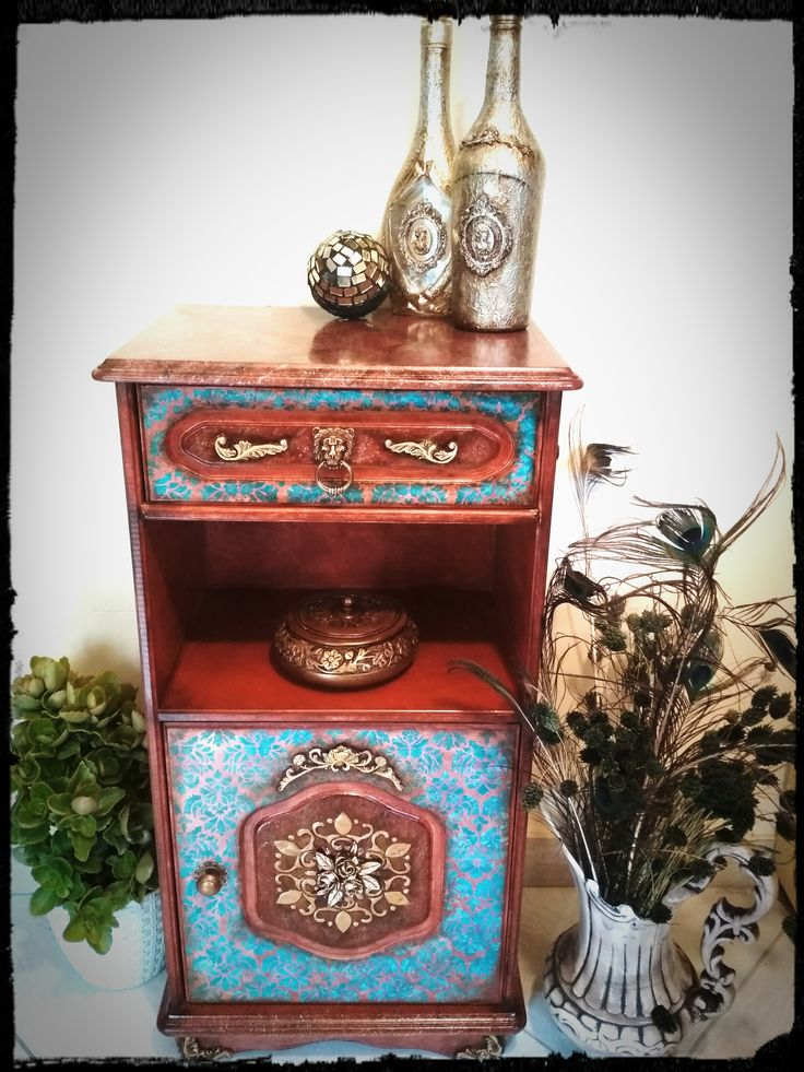 Πνοή μπαρόκ και εφέ μαρμάρου όνυχα σε μικρό έπιπλο! Baroque and onyx marble effect in small furniture!