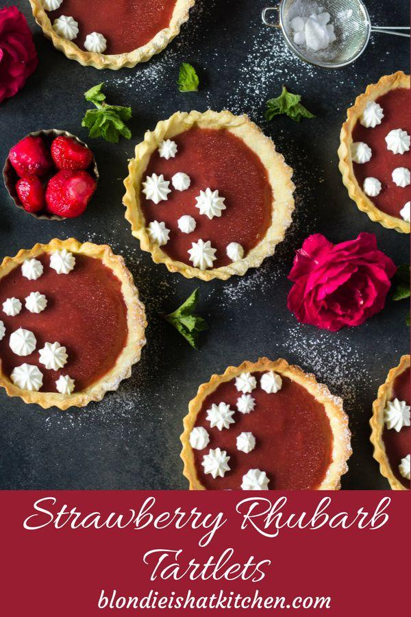Strawberry Rhubarb Tartlets Simple tartlets with strawberry rhubarb purée filling #strawberryrhubarbtartlets #tartletsrecipe #tartelettesrecipe #rhubarbstrawberry #rhubarbrecipe