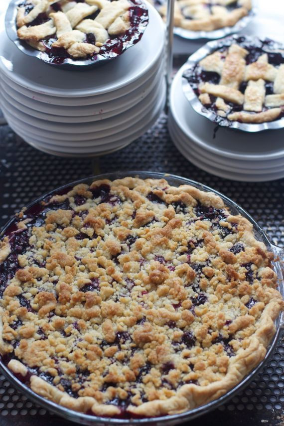 Blueberry Crumb Pie with Freshly Picked Blueberries