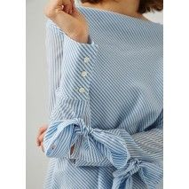 Long-sleeve, diagonally striped pullover shirt featuring long button cuffs, embellished with removable bows. It has a cowl neck and a straight cut.