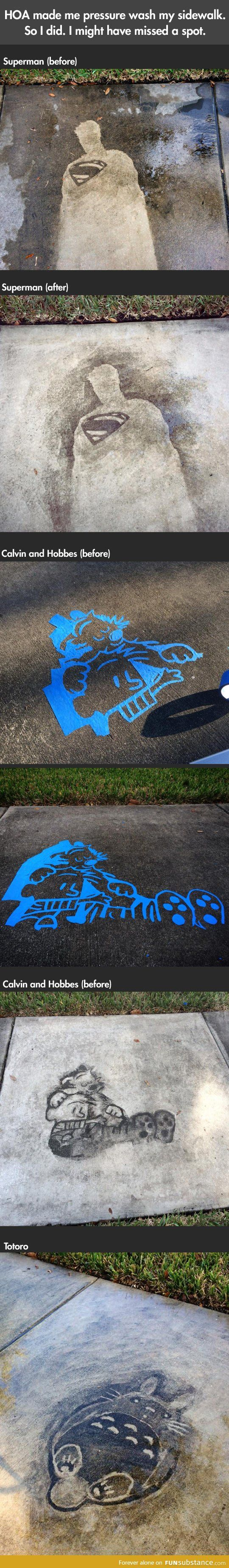Comics drawn on a sidewalk with a pressure washer