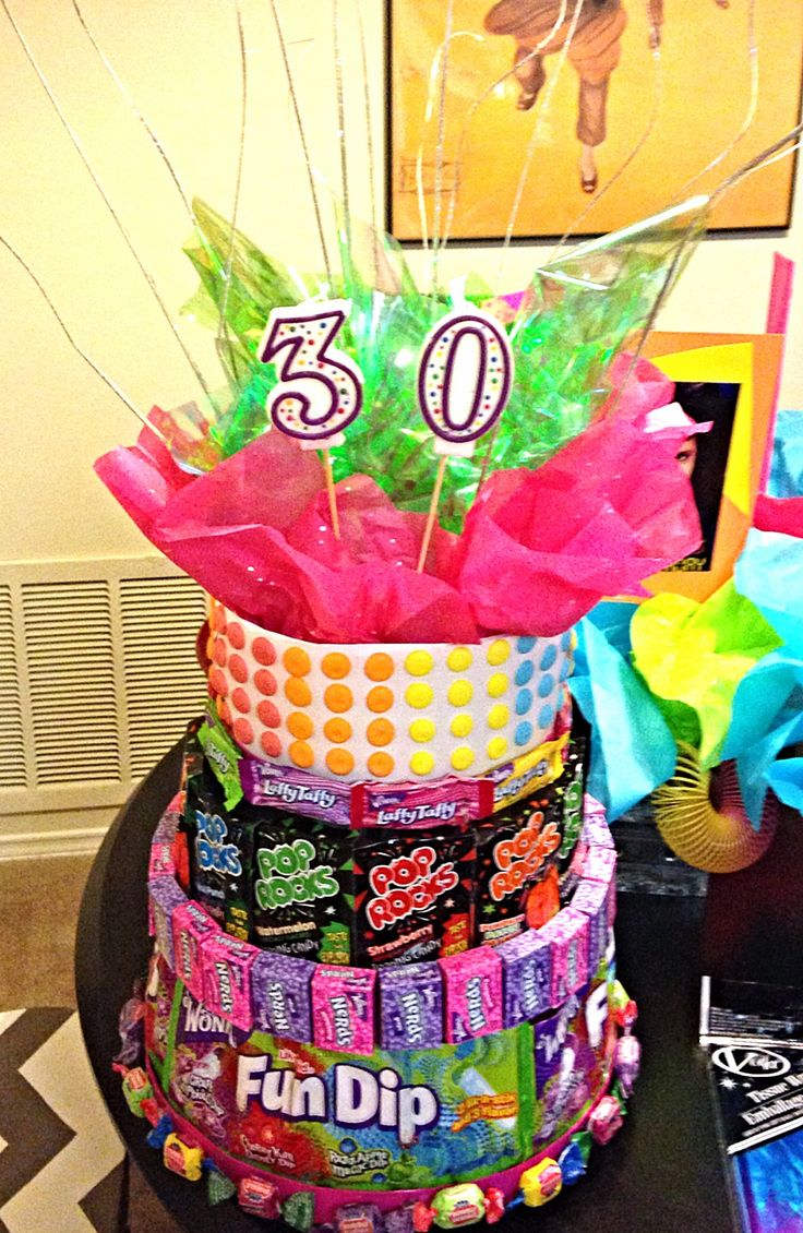 Candy cake for 80's party.... Used cardboard cupcake stand for base.