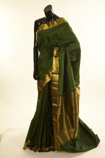 Kancheepuram, Kanjipuram- silk dark olive green saree with blouse