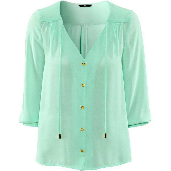 H&M Blouse From ($15) ❤ liked on Polyvore featuring tops, blouses, shirts, blue, mint green, 3/4 sleeve shirts, blue neck tie, blue chiffon blouse, mint green tie and green chiffon blouse