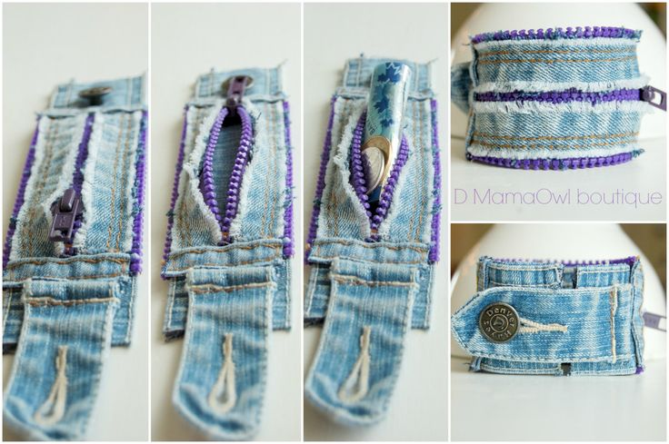 Upcycled Recycled Denim and Purple Zipper Cuff por DMamaOwlBoutique