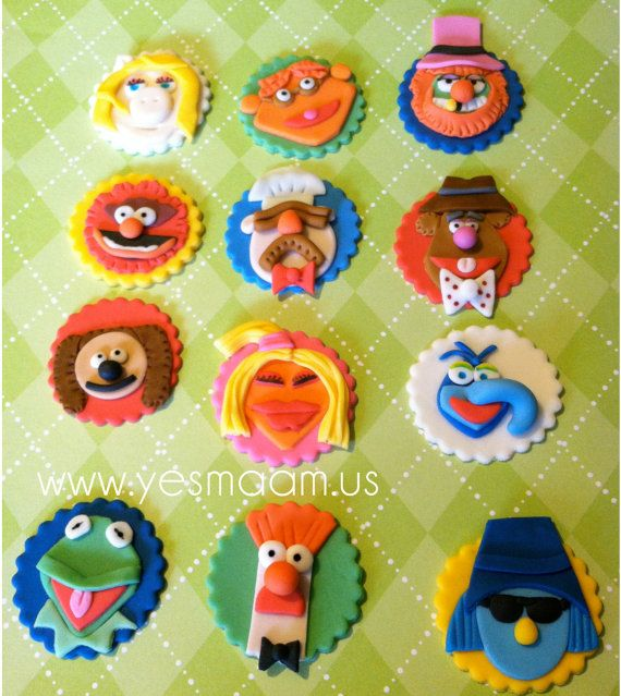 12 Muppet Characters Fondant Cupcake Toppers on Etsy, $15.99