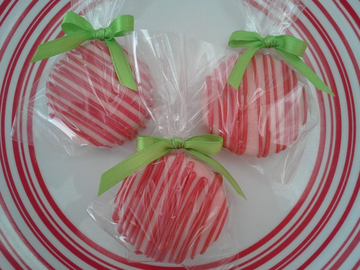 Strawberry Shortcake Theme Chocolate Covered Oreos Cookies Birthday Party Favors Red Pink Green Wedding Favors Baby Shower Favors. $16.00, via Etsy.