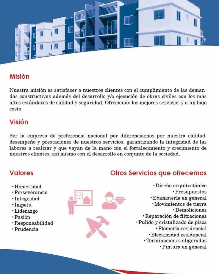 Nuestra misión con nuestros clientes criterios que nos definen y cómo nos visualizamos en el mañana #construction #constructionworker #ingenieríacivil #construccionesyserviciosrl #valores #mision #vision #servicios