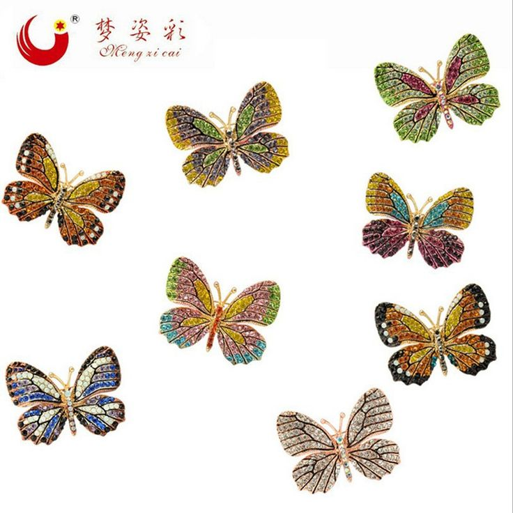 2016 Fashion Colorful Butterfly Brooch Wedding Crystal Rhinestone Insect Broche Mujer Bouquet Hijab Scarf Pin Eight Colors X1734
