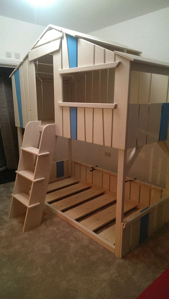 Bunkbed hand made playhouse high sleeper childrens bunk - Mattress made of balls ...