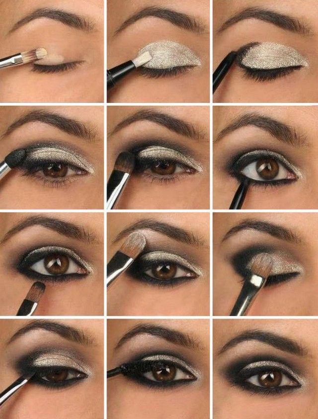 Красивый вечерний макияж глаз. Фото макияжа глаз пошагово.