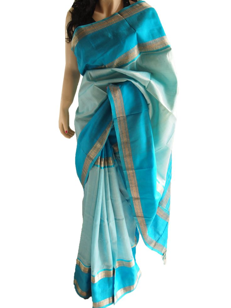 Turquoise Pure South Silk Saree With Zari Border
