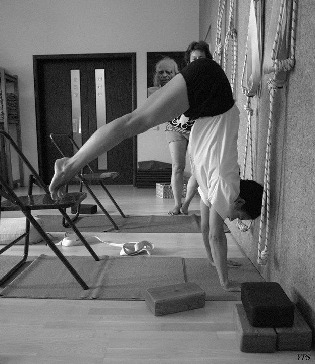 1000 images about iyengar yoga chair inversions on for Chaise yoga iyengar