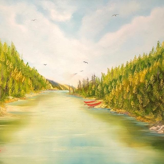"(c) Valley Trail Hike by M. Kishek. 24""x36"" oil on canvas. #fineart #kayaking #oilpainting #hiking #mont #monts #mountain #nature #lac #lake #jacques-cartier #hike #canoeing #rapids #arts #river #riviera #valleys #vale #trails #artist #artists #art #oils #canvas #valley #trail #peak #spruce #backpacking"
