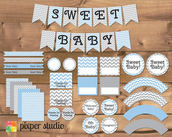 INSTANT DOWNLOAD Chevron Baby Shower Blue and by PixperStudio