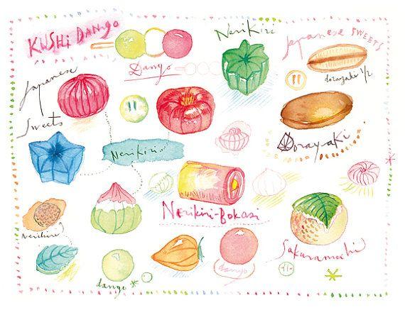 Kawaii illustration print, Cute japanese sweets poster, 8X10, Watercolor Kitchen art, Japan, Pink treats, Pastel, Baby girl, nursery decor on Etsy, $30.00