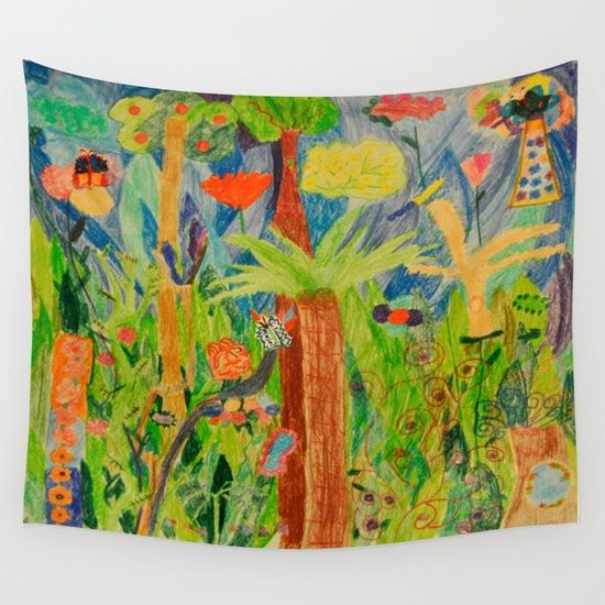 Floor Pillows wall art deco tapestry and more... Paintings by Elisavet ... find and buy them from my shop https://www.society6.com/azima 20% Off + Free Shipping  just for few hours!!! #society6 #kids #paintings #kidsroom #pillow #colorful #forest #sales