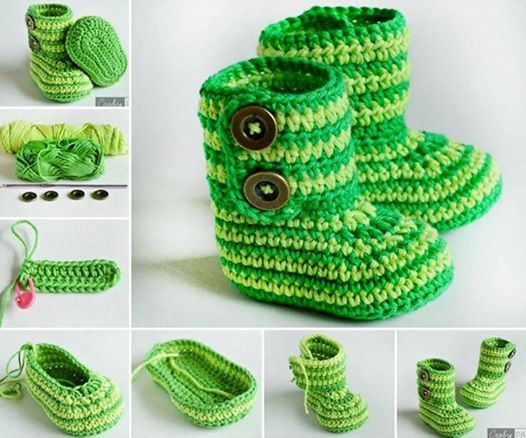 Crochet green zebra booties with Free pattern, very pretty ! #diycraft #crochet #free pattern