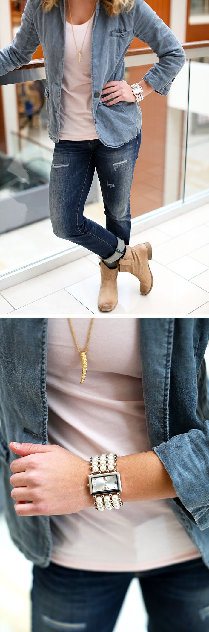 Sort of like this look, nice jeans and tank... like dangling necklaces, on the fence about this one