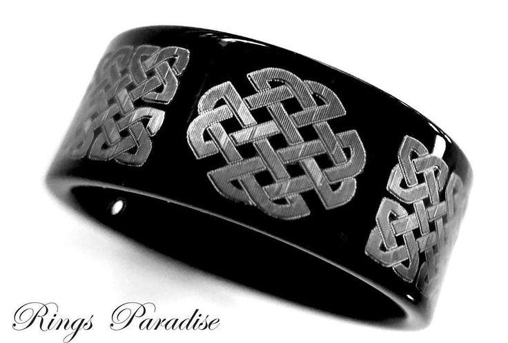 Black Celtic Wedding Band, Love Knot Ring, Men Women Scottish Ring, Men Celtic Ring, Authentic Celtic Ring, Tungsten Celtic Wedding Band Set by RingsParadise on Etsy