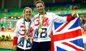 Laura Trott and fiancé Jason Kenny show off two of the 10 Olympic gold medals they have won between themselves, at the Rio Olympic Velodrome on Tuesday.