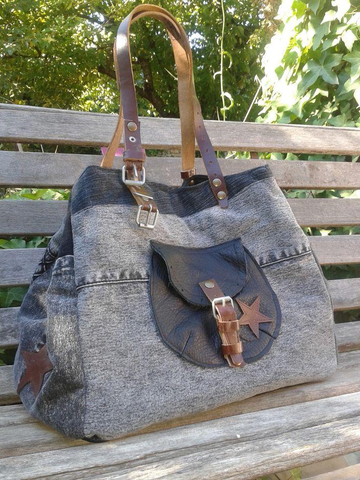 Grand sac en jeans gris noir et cuir
