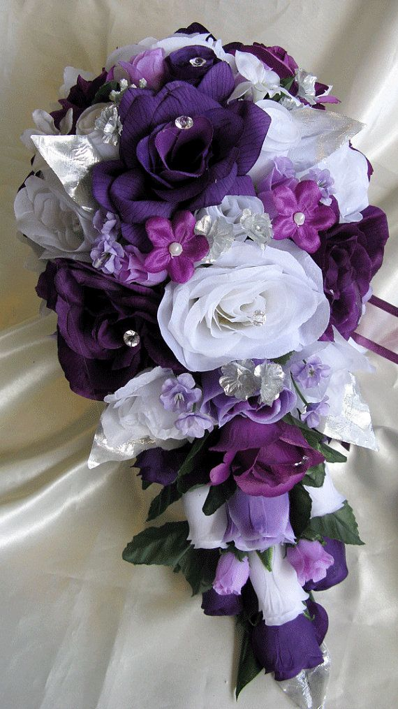 Wedding Bouquet Bridal Silk Flowers Cascade PLUM PURPLE SILVER 17 Pcs Package Artificial Bouquets Decorations Centerpieces RosesandDreams