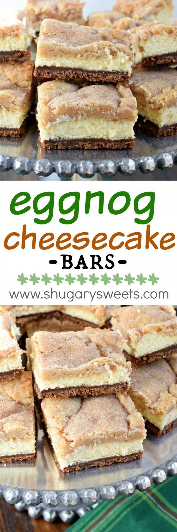 Layered Eggnog Cheesecake bars with a gingersnap crust, creamy cheesecake filling and snickerdoodle cookie topping! This is the ultimate dessert recipe, and it's easy enough to make!: