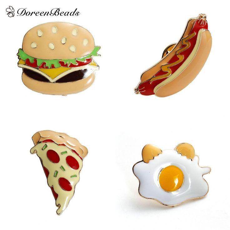 Doreenbeads 2016ファッションエナメル食品ハンバーガー/ピザ/ホットドッグ/半熟卵亜鉛合金ブローチピンジュエリーアクセサリー1ピース