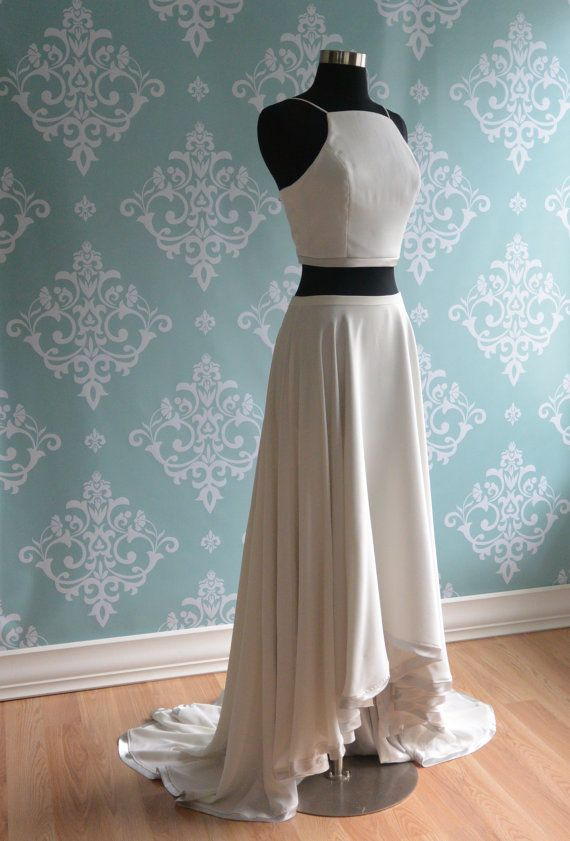 Sangria is a two piece wedding dress with a crop top and a for Circle skirt wedding dress