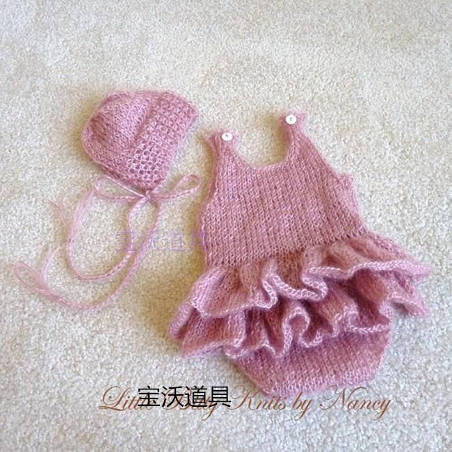 New Style Baby Hat and Romper Set Newborn Baby Pants Handmade Overall and Bonnet Props