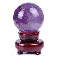 Geek | 20mm Rare Magic Natural Amethyst Quartz Crystal Sphere Ball Healing Stone Purple (Color: Purple)