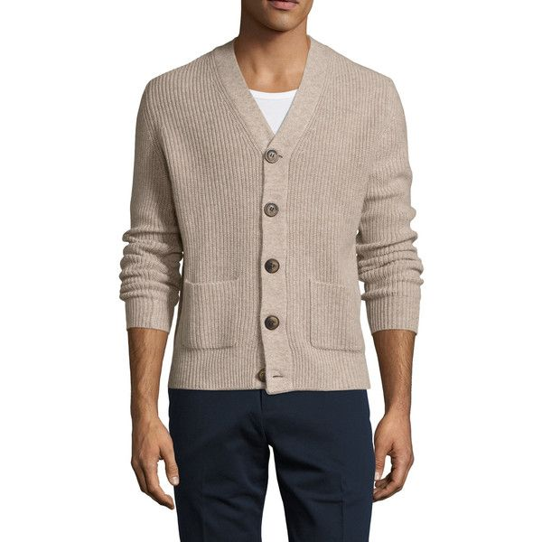 Dartmoor Men's Cashmere Ribbed V-Neck Cardigan - Cream/Tan - Size L ($375) ❤ liked on Polyvore featuring men's fashion, men's clothing, men's sweaters, mens cashmere v neck sweater, mens sweaters, mens cardigan sweaters, mens v-neck cashmere sweaters and mens vneck sweater