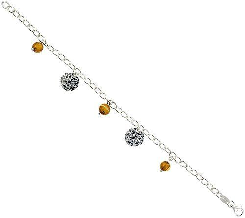 Sterling Silver Italian Oval Link Bracelet, w/ Gold-colored Murano Glass Beads & Disc Pendants, 1/2 inch (14 mm) wide Sabrina Silver. $26.63