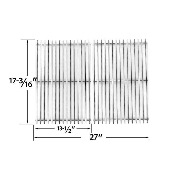 Heavy Duty Replacement Stainless Steel Cooking Grates For Uniflame GBC091W, GBC940WIR, GBC956W1NG-C, GBC981W, GBC981W-C, GBC983W-C and Tera Gear 13013007TG Gas Grill Models, Set of 2