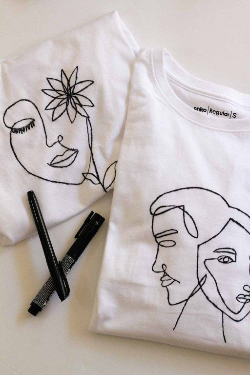 DIY Line Art T-Shirts (with Printable Template!)  – fashion baby – #Art #Baby #D…