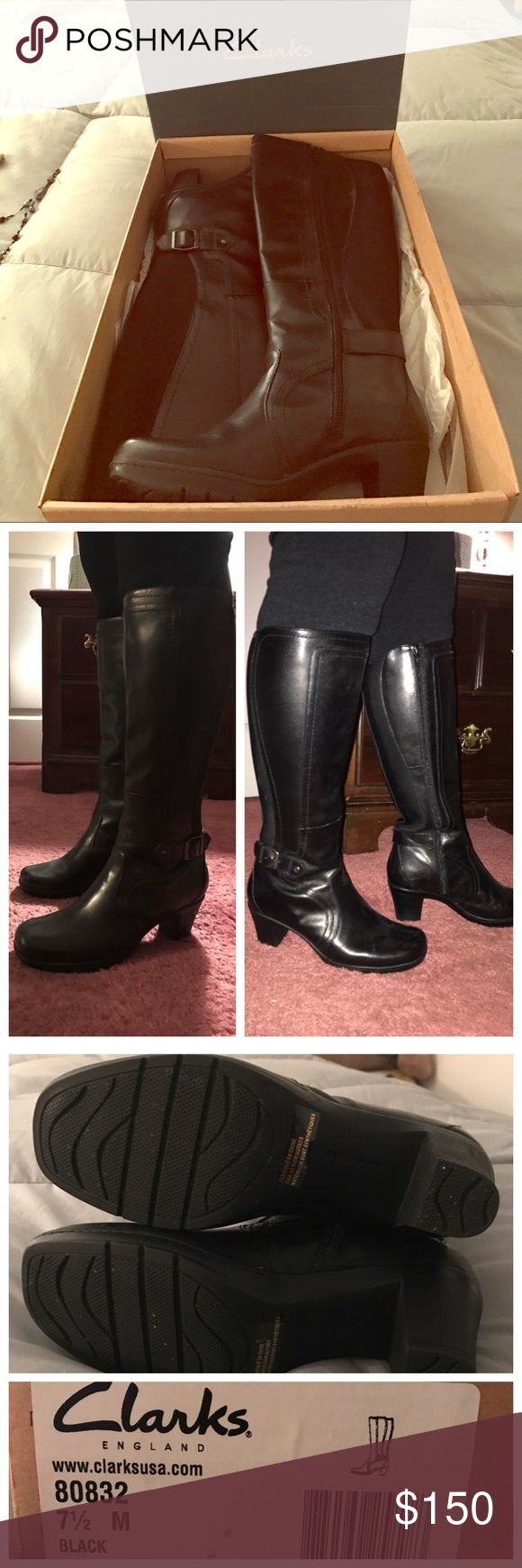 """❤️VDAY SALE! BNIB CLARKS BLACK LEATHER BOOTS OMG How beautiful are these! Brand new in box, never worn, these need a new home! Clarks is known for amazing quality leather, these do not disappoint! Super stylish but still comfortable with 2 1/2"""" heel. Shaft height is 13 1/2"""" from base of the sole. Regular calf width, not wide nor slim. Silver hardware. Please ask any/all questions before purchasing, happy to help! These are my mom's boots, she does not NEED to sell them, so please no…"""