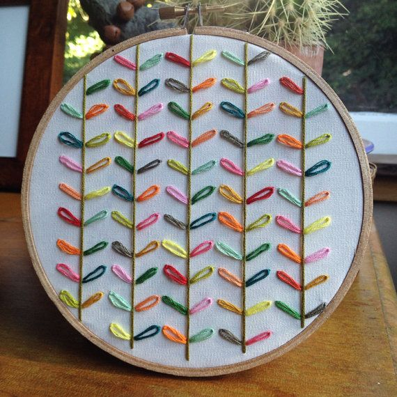 Orla Kiely inspired embroidery hoop