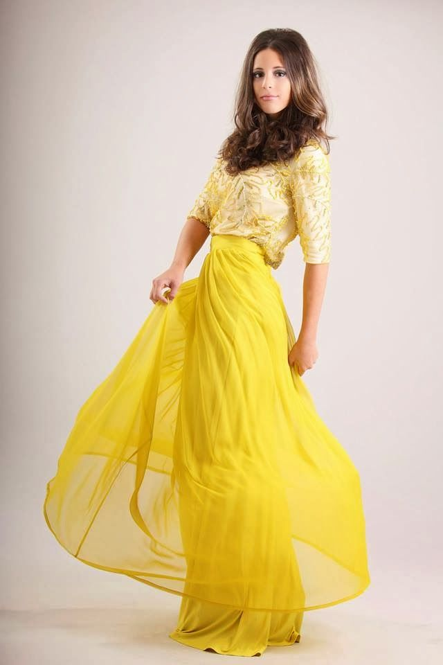 Canary yellow maxi skirt and matching top