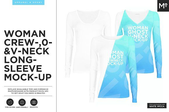 Woman Crew-O-Vneck Longsleeve Mockup by Mocca2Go/mesmeriseme on @creativemarket