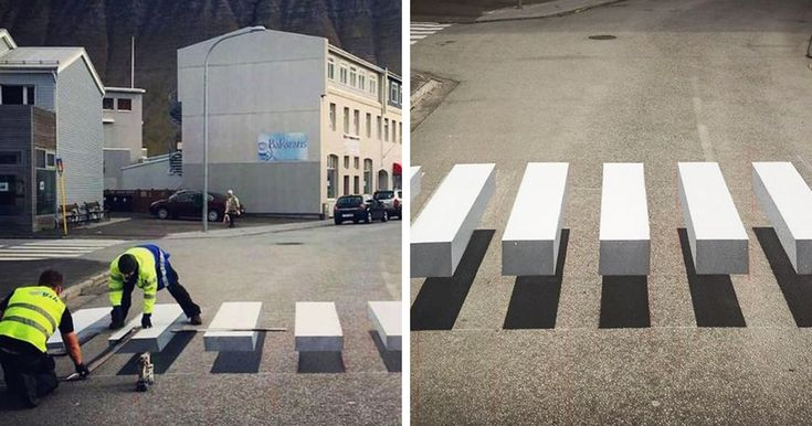 n the small fishing town of Ísafjörður, Iceland, an exciting development in road safety has just popped up – almost literally. A new pedestrian crossing has been painted that appears to be 3D by way of a cleverly-detailed optical illusion. //  It's BLOWING my mind looking at these.