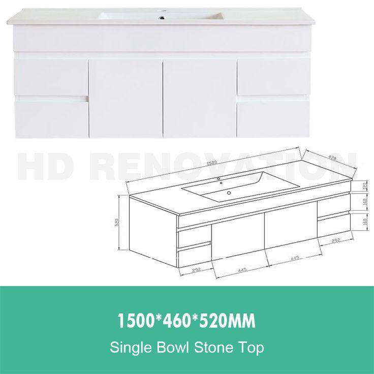 1500-460-520mm-Bathroom-Vanity-Basin-Sink-Storage-Cabinet-Soft-Close-Wall-Hung