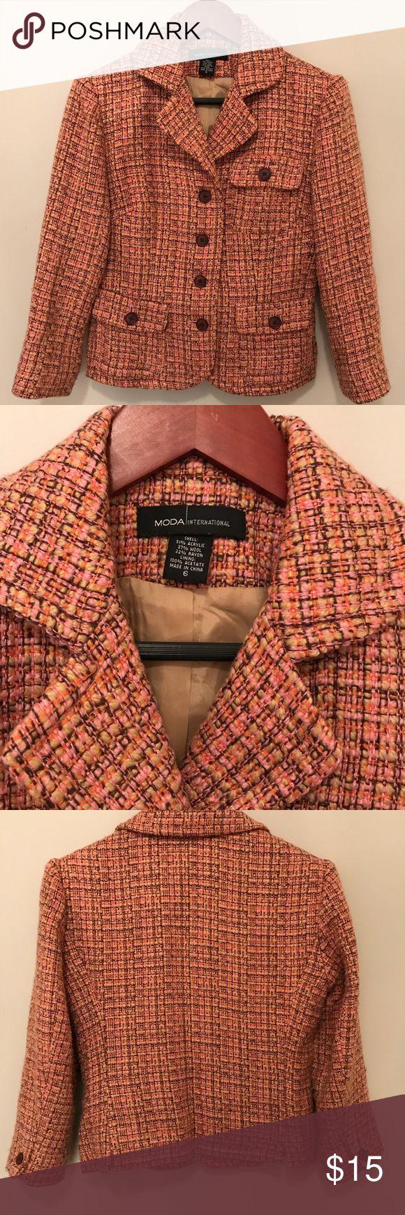 Moda international Tweed Blazer Tweed plaid blazer by Moda International (Victoria's Secret catalog order) Excellent condition  Wool blend Lined Size 6 Moda International Jackets & Coats Blazers