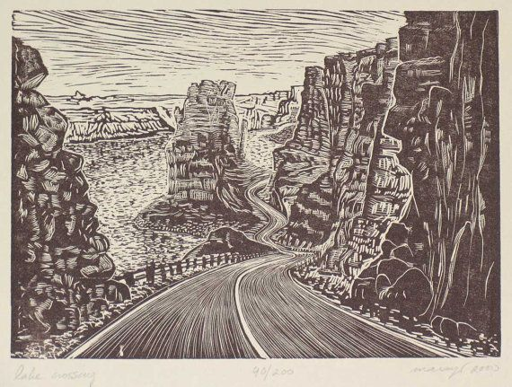 Original Wood Engraving Hand-pulled Print Lake Powell Crossing Desert Road Landscape Utah