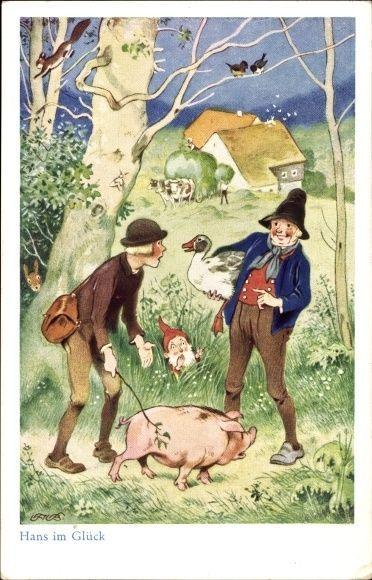 Künstler Ak Baumgarten, Fritz, Märchen Hans im Glück, Schwein, Gan... - 1234149 in Sammeln & Seltenes, Ansichtskarten, Motive | eBay