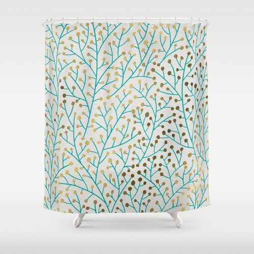 Exciting Teal And Gold Shower Curtain Contemporary - Best Image ...